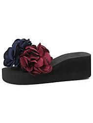 Для женщин Сандалии Туфли Мери-Джейн Ткань Лето Для прогулок Для праздника Повседневный Для прогулок Цветы На плоской подошвеКрасный