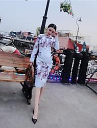 tiro real na Europa e América 2107 de moda primavera vento temperamento imprimir vestido chique vestido fino