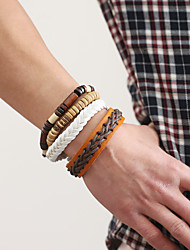 The New Vintage Cowhide Ancient Hand Woven Bracelet Cortical Layers Hand Rope Men's Bracelet Adjustable Size051