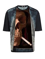 2017 europäische und amerikanische personalisierte T-Shirt-Druck m 3d Perspektive amazon Rauchen Schädel Burst-Modelle