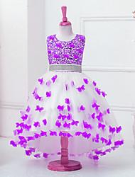 De Baile Assimétrico Vestido para Meninas das Flores - Algodão Organza Cetim Tule Paetês Sem Mangas Decorado com Bijuteria comApliques