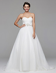 2017 Lanting Bride® A-line Wedding Dress Open Back Sweep / Brush Train Sweetheart Chiffon Lace with Beading Draped
