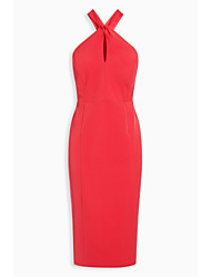 Women's Cut Out Going out Party A Line Dress,Solid Halter Midi Sleeveless Polyester Summer Mid Rise Inelastic Medium