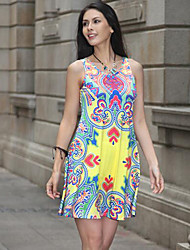 Women's Going out Party/Cocktail Holiday Vintage Street chic Swing Dress,Floral Asymmetrical Maxi Sleeveless Cotton Summer High Rise