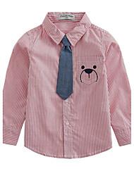 Casual/Daily Striped Shirt,Cotton Spring Fall Long Sleeve Regular