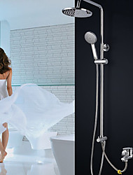 Contemporary Tub And Shower Rain Shower Widespread Handshower Included with  Ceramic Valve Three Handles Chrome Shower And Bathtub Faucet
