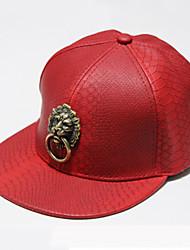 Women 's Summer Leather Metal Lion Head Flat Hip Hop Crocodile Skin Printing Baseball Cap