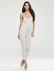 Women's Solid Gray Jumpsuits,Vintage Strap Sleeveless