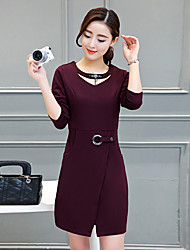 2017 women's spring and autumn new Korean long-sleeved dress and long sections Slim package hip skirt slit Ms. step