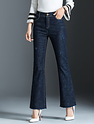 Women's Mid Rise Micro-elastic Jeans Pants,Simple Bootcut Solid