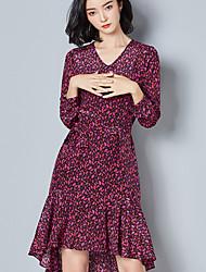 Sinal 2017 novo europeu e americano vestido de chiffon de seda estampado vestido de temperamento longo irregular seção