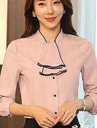 Women's Casual/Daily Party Simple Cute Spring Fall Shirt,Solid Halter Long Sleeve Silk Medium