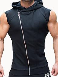 Hombre Simple Activo Deportes Verano Tank Tops,Con Capucha Un Color Sin Mangas Algodón Poliéster Fino