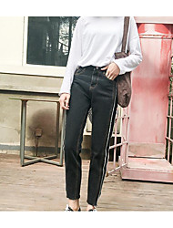 2017 spring models real shot retro style double flash harbor washed jeans female students in nine straight wide leg pants