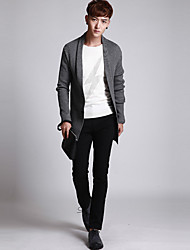 Men's Casual/Daily Regular Cardigan,Solid Round Neck Long Sleeve Others All Seasons Medium Micro-elastic