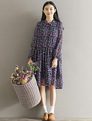Signe 2017 printemps petit frais sen femelle grands chantiers longue section de robe en mousseline mousseline