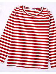 Casual/Daily Striped Tee,Cotton Spring Fall Long Sleeve Regular