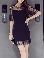 Women's Going out Sexy Bodycon Shift Dress,Solid Round Neck Above Knee Short Sleeve Polyester Summer High Rise Inelastic Thin