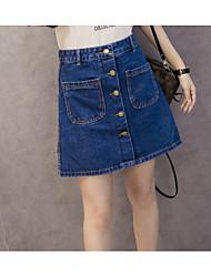 2017 new summer denim skirt waist breasted a thin skirt package hip skirts denim skirt Sign