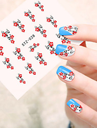 5pcs/set Beautiful Red Flower Vine Nail Art Flower Sticker Fashion Nail Water Transfer Decals Nail DIY Decoration STZ-028