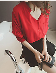 2017 spring and summer new Korean version of loose V-neck white shirt female chiffon shirt blouse tide