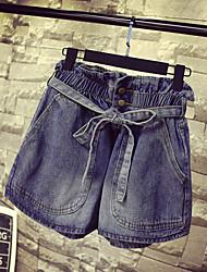 Women's High Rise Micro-elastic Jeans Shorts Pants,Vintage Loose Rivet Solid