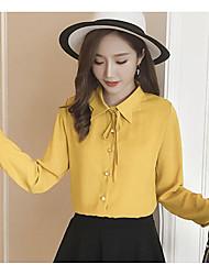 Signer le nouveau printemps 2017 robe de femme coréenne sauvage couleur unisee en mousseline de soie blouse blouse