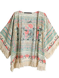 Women's Casual/Daily Simple Spring Summer Blouse,Print Cowl ½ Length Sleeve Polyester Medium