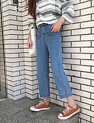 Sign Nett ~ new nine straight loose waist wide leg pants BF wind was thin casual jeans female