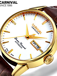 Carnival Masculino relógio mecânico Chinês Automático - da corda automáticamente Couro Banda Vintage Casual Marrom Ouro / Branco