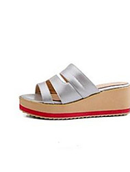 Damen-Sandalen-Lässig-PU-Keilabsatz-Fersenriemen-Gold Weiß Silber