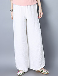 2017 Spring Chinese style cotton wide leg pants costume national wind retro casual loose linen trousers female