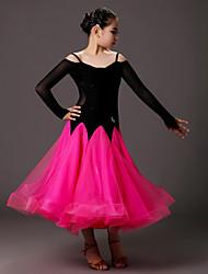 Ballroom Dance Dresses Kid's Performance Tulle Velvet Draped Splicing 1 Piece Long Sleeve Natural Dress