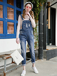 Korean fashion cute playful hole suspenders College Wind wild was thin denim strap trousers female tide
