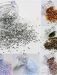 1Bottle Hot Fashion Colorful Thin Round Slice Nail Art 3d Glitter Paillette Colorful Nail Sparkling Decoration Tips For Nail Beauty Y01-09