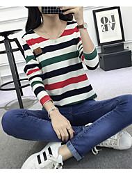 Damen Gestreift Einfach Lässig/Alltäglich T-shirt,Rundhalsausschnitt ¾-Arm Baumwolle Dünn