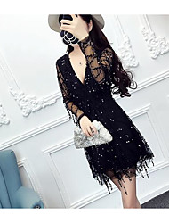 Sign 2016 new winter new sequined fringed waist sexy V-neck dress