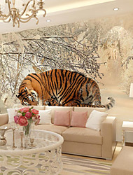 Art Deco Wallpaper For Home Wall Covering Canvas Adhesive Required Mural Colored Forest Snow Tiger XXXL(448*280cm)
