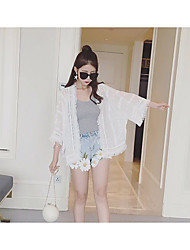 Beach sun protection clothing spring and summer female Korean loose fringed shawl cardigan thin coat chiffon shirt air conditioning