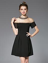 Trapèze Gaine Patineuse Robe Femme Sortie Soirée / Cocktail Grandes Tailles Sexy Vintage Sophistiqué,Couleur Pleine Mosaïque Col Arrondi