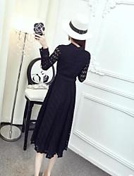 Sign temperament high-necked lace waist large leaf pendulum long Dress with Belt