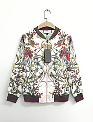 Women's Going out Casual/Daily Simple Cute Spring Fall Jacket,Floral Stand Long Sleeve Regular Rayon