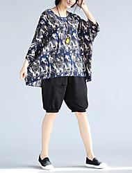 assinar mulheres de grande porte de verão nova&# 39; s nacionais vento personalidade compassiva camisa solta bat de manga curta