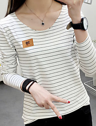 Really making 2017 spring long-sleeved T-shirt female Korean wild black and white striped stretch cotton shirt loose tide