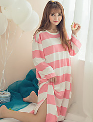 Women Chemises & Gowns Nightwear,Print Striped-Medium Cotton Pink Blue Women's
