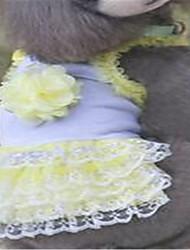 Cães Vestidos Roupas para Cães Primavera/Outono Bordado Fofo Roxo Amarelo