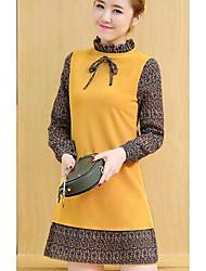 2017 spring new Korean women fake two dress pleated chiffon Zou stitching long paragraph dress