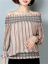 Women's Going out Casual/Daily Street chic Spring Summer Shirt,Striped Boat Neck ¾ Sleeve Polyester Medium