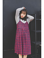 New Korean version of the loose strap dress plaid long section V-neck harness dress bottoming female students