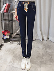 Sign Sign new stretch denim high waist pants feet pencil pants drawstring trousers female influx of women